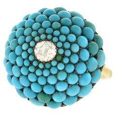Antique Persian Turquoise and Diamond-Set Gold Ring
