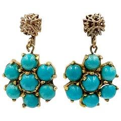 Persian Turquoise Dangle Drop Flower Earrings 14 Karat Gold Art Deco Style