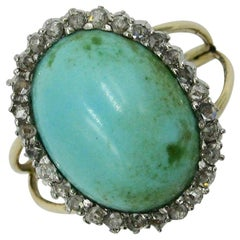 Antique Persian Turquoise Ring Rose Cut Diamond Halo Platinum Edwardian