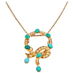 Antique Persian Turquoise and Seed Pearls Necklace