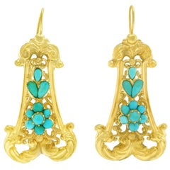 Antique Persian Turquoise-set Gold Earrings