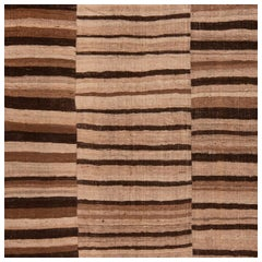 Antique Persian Wool Rug Beige and Brown with Stripped Pattern