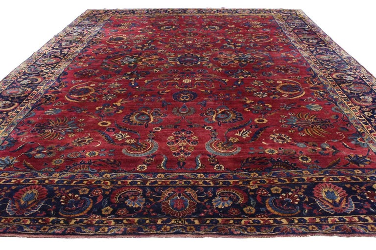 Antique Persian Yazd Area Rug With Luxe Victorian Style For Sale At