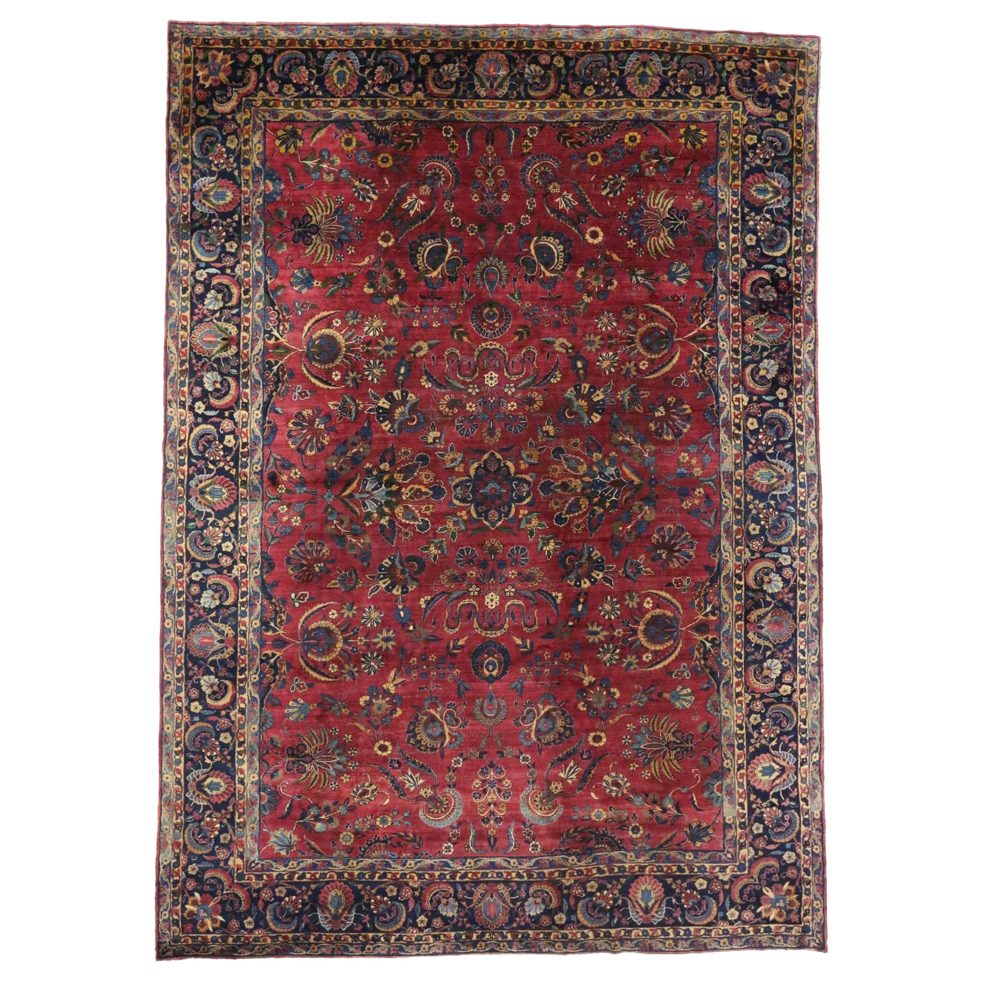 Antique Persian Yazd Area Rug with Luxe Victorian Style