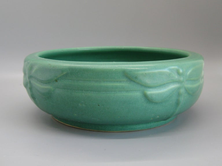 American Antique Peters & Reed Zanesville Arts & Crafts Green Dragonfly Art Pottery Bowl For Sale