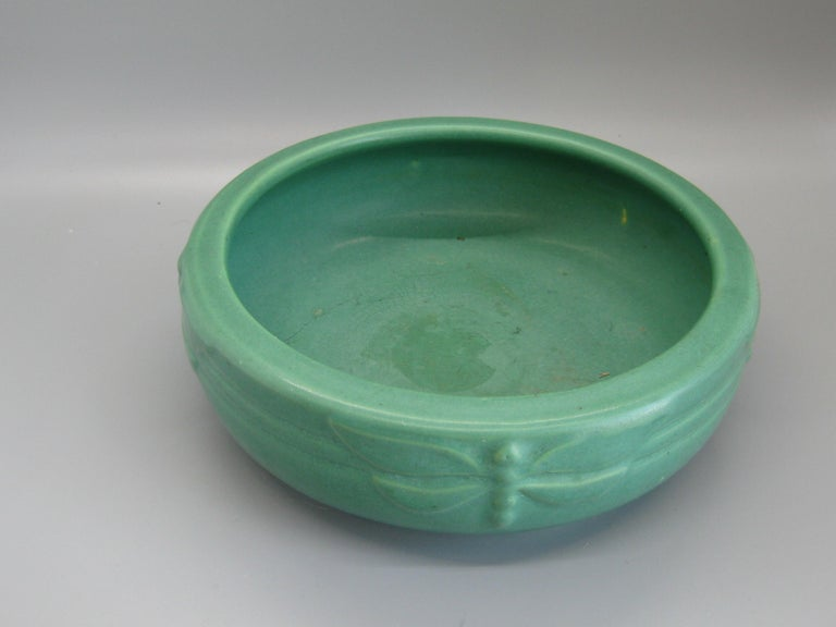 Antique Peters & Reed Zanesville Arts & Crafts Green Dragonfly Art Pottery Bowl For Sale 1