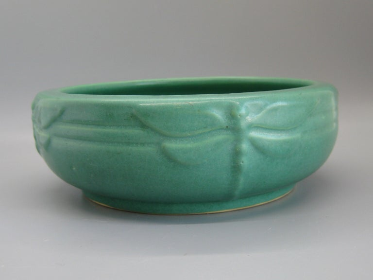 Antique Peters & Reed Zanesville Arts & Crafts Green Dragonfly Art Pottery Bowl For Sale 2