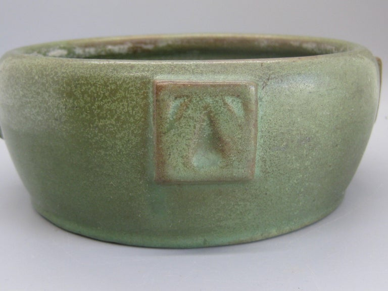 Antique Peters & Reed Zanesville Arts & Crafts Matte Green Art Pottery Bowl Vase For Sale 5