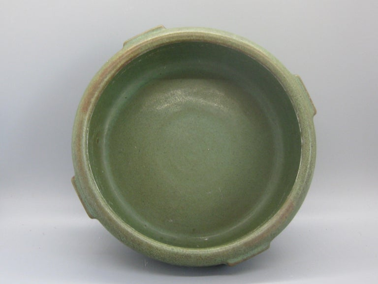 Antique Peters & Reed Zanesville Arts & Crafts Matte Green Art Pottery Bowl Vase For Sale 6