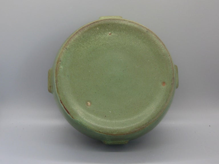 Antique Peters & Reed Zanesville Arts & Crafts Matte Green Art Pottery Bowl Vase For Sale 7