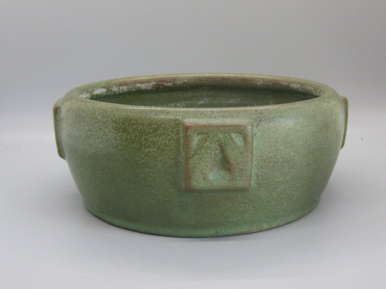 Antique Peters & Reed Zanesville Arts & Crafts Matte Green Art Pottery Bowl Vase For Sale 4