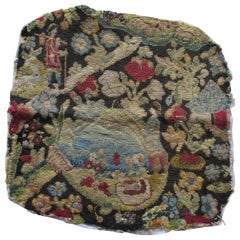 Antique Petit Point Tapestry Fragment Portraying a Rustic Scene