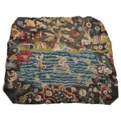 Antique Petit Point Tapestry Fragment with Blue and Brown Flowers Motif