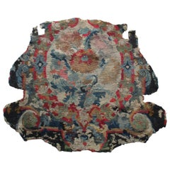 Antique Petit Point Tapestry Fragment with Blue and Red Flowers Motif