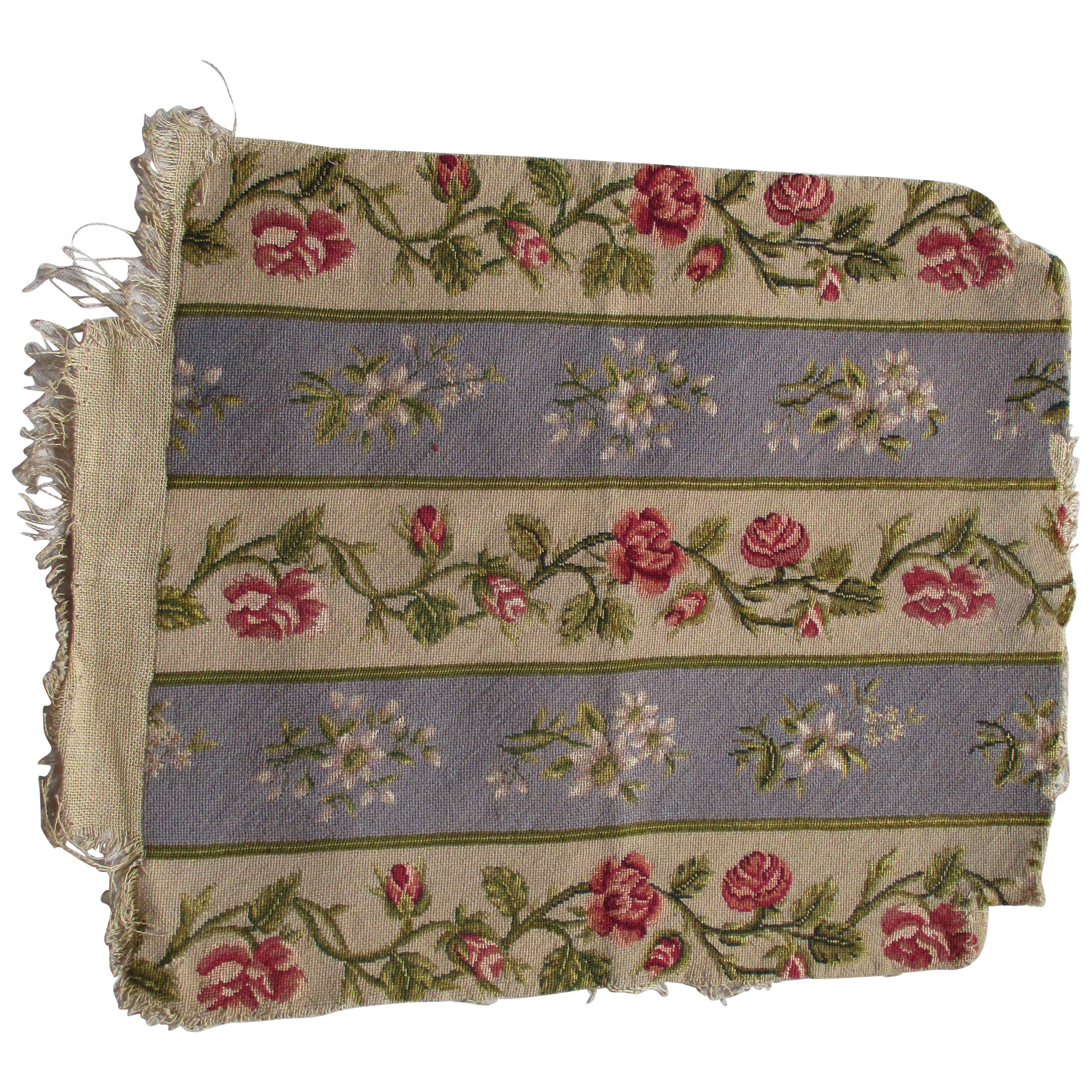 Antique Petit Point Tapestry Seat Cover Fragment