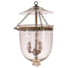 Antique Petite Bell Jar Lantern with Diamond Etching