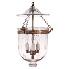 Antique Petite Bell Jar Lantern with Etched Stars