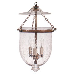 Antique Petite Bell Jar Lantern with Wheat Etching