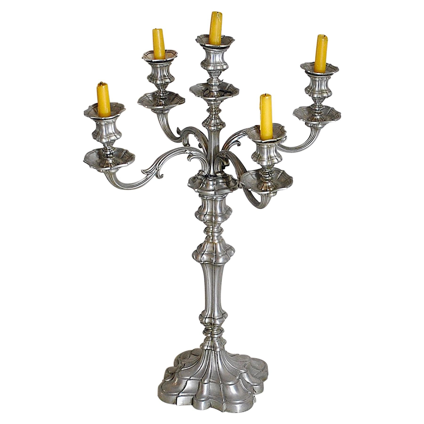 Antique Pewter Candleholders