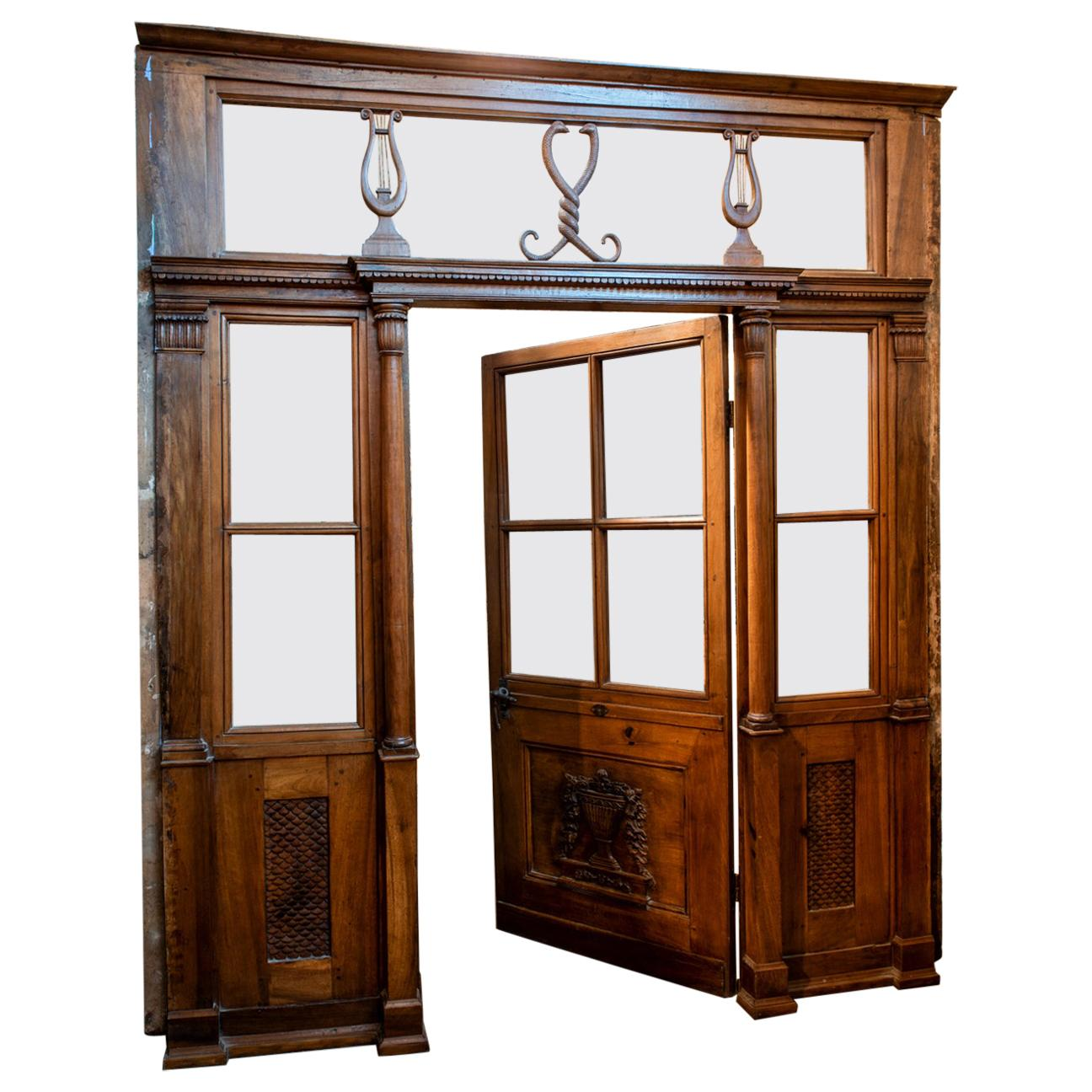 Antique Pharmacy Entrance Glass Door in Carved Walnut, 19th Century, Italy