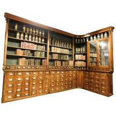 Antique Pharmacy Moble in Walnut with Drawers, Raised Day, Bookcase, Swiss, 1800