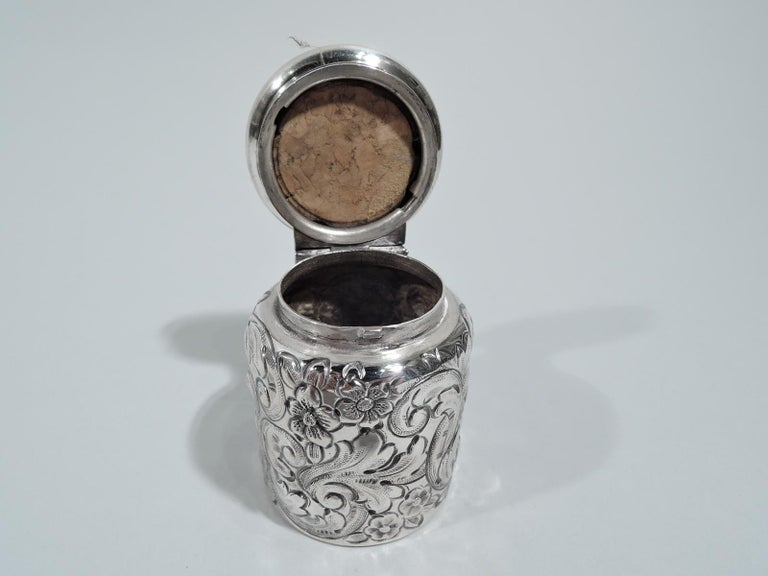 Victorian Antique Philadelphia Sterling Silver Travelling Inkwell For Sale