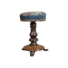 Antique Piano Stool Rosewood Music, Regency, Adjustable, Needlepoint, circa 1830