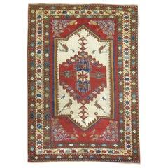 Antique Pictorial Bird Colorful 19th Century Kazak Caucasian Collector Rug