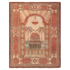 """Antique Pictorial Dome of the Rock Israeli Marbediah Rug. Size: 2' 4"""" x 3'"""