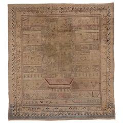 Antique Pictorial Khotan Carpet, Soft Tones Soft Palette, Allover Detailed Field