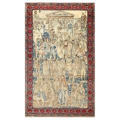 Antique Pictorial Mashahir Kerman Persian Rug