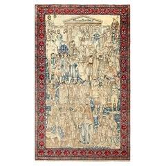 Antique Pictorial Mashahir Kerman Persian Rug. Size: 5 ft 5 in x 8 ft 10 in