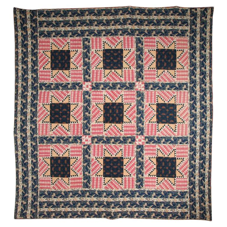 "Antique Pieced Quilt:  "" Feathered Stars"" For Sale"