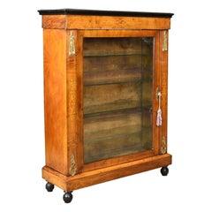 Antique Pier Cabinet, English Burr Walnut Glazed Display Cupboard, circa 1870