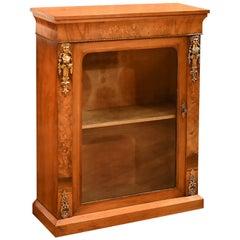 Antique Pier Cabinet, Victorian Burr Walnut, circa 1850