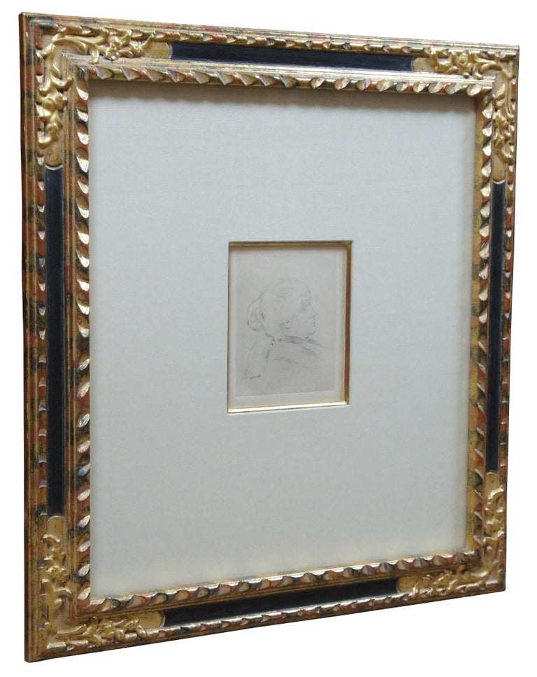 Antique Pierre Auguste Renoir Portrait of Berthe Morisot Etching with COA In Good Condition In Dayton, OH