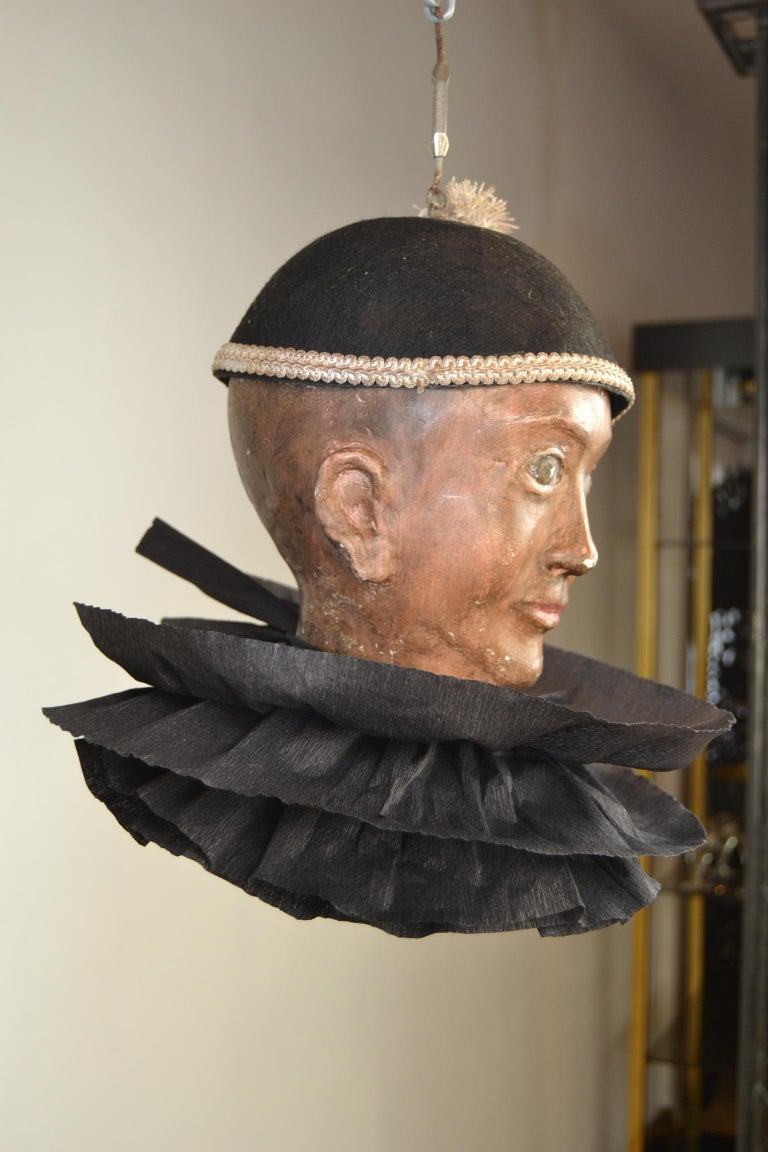 Antique Pierrot Theater Doll Head, Marionette Head In Good Condition For Sale In Antwerp, BE