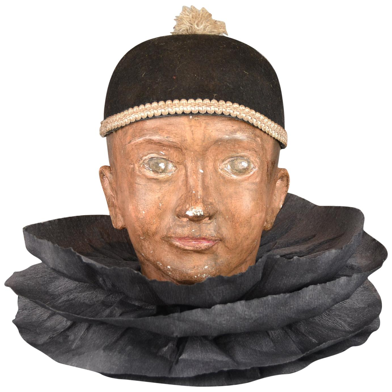 Antique Pierrot Theater Doll Head, Marionette Head