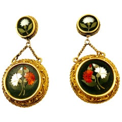 Antique Pietra Dura 18k Gold Renaissance Revival Earrings, Carnation Motif, 1870