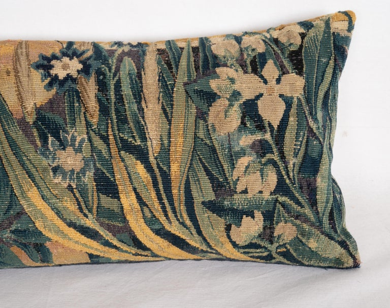 Kilim Antique Pillow Case Made from a Flemish Tapestry Fragment, 18th Century For Sale