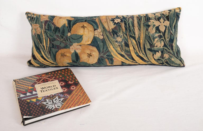 Belgian Antique Pillow Case Made from a Flemish Tapestry Fragment, 18th Century For Sale