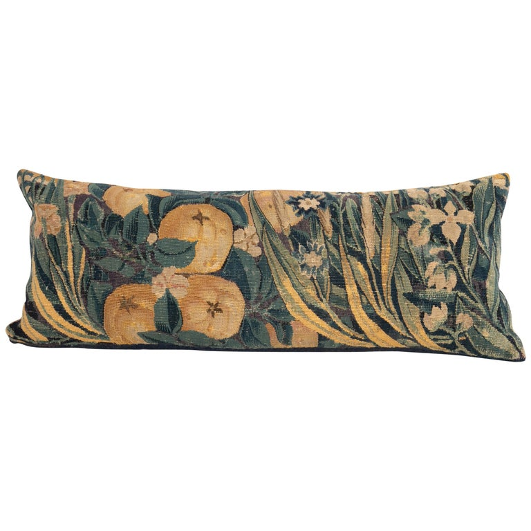 Antique Pillow Case Made from a Flemish Tapestry Fragment, 18th Century For Sale