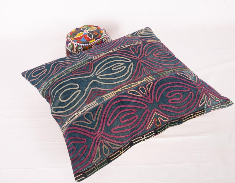 Embroidered Antique Pillow Case Made from an Early 20th Century Kyrgyz Embroidery For Sale