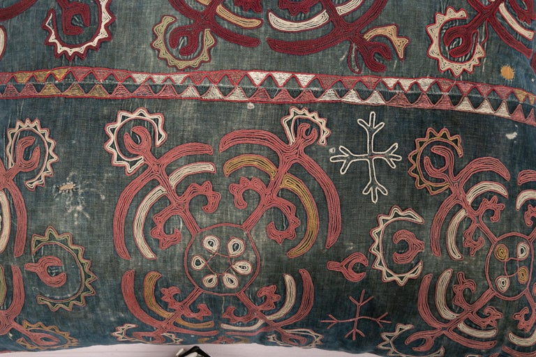 Embroidered Antique Pillow Case Made from an E 20 C, Kyrgyz Embroidery For Sale