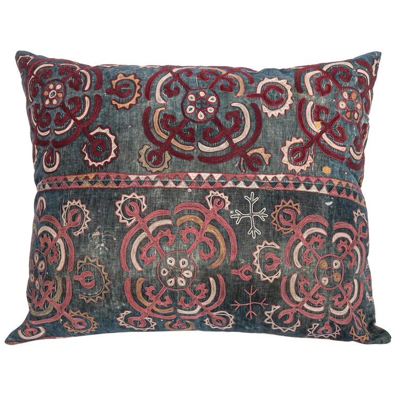 Antique Pillow Case Made from an E 20 C, Kyrgyz Embroidery For Sale
