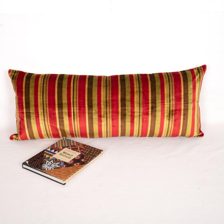 Woven Antique Pillow Case Made from an Early 20th Century Silk Velvet from Uzbekistan For Sale