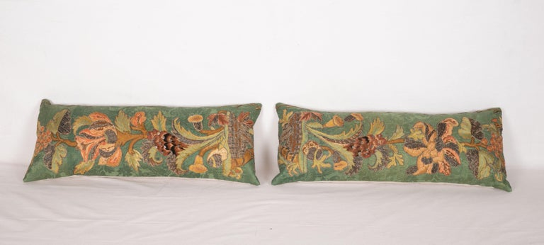 Suzani Antique Pillow Cases Fashioned from an Embroidered European Applique Panel