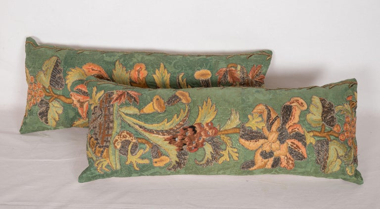 Italian Antique Pillow Cases Fashioned from an Embroidered European Applique Panel