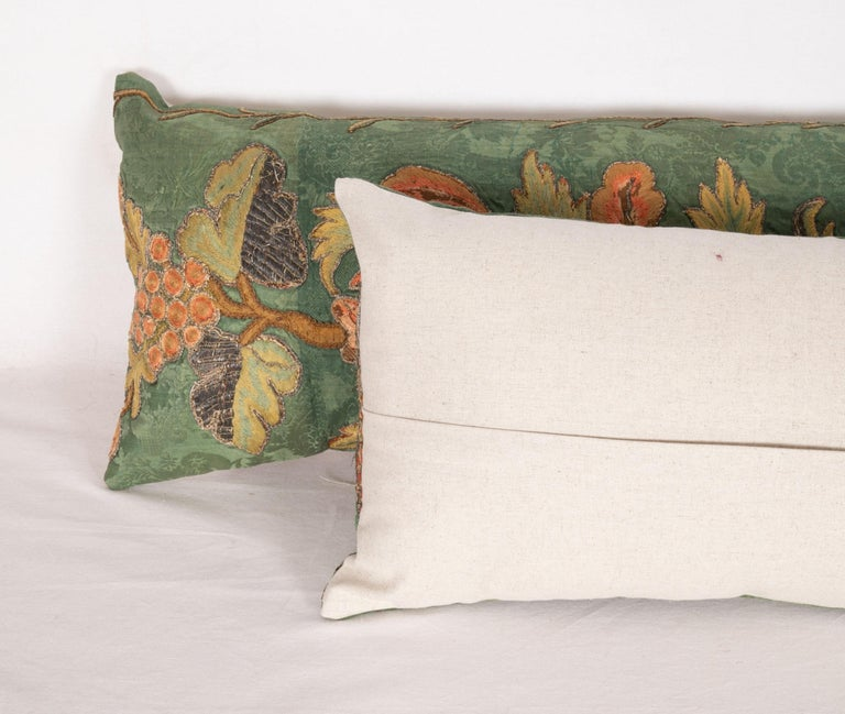 Silk Antique Pillow Cases Fashioned from an Embroidered European Applique Panel