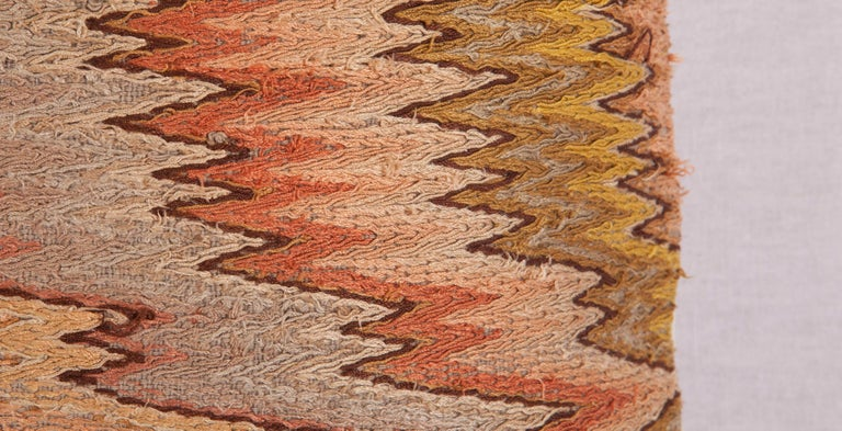 Embroidered Antique Pillow Made from 18th-19th Century Italian Bargello Flame Stitch For Sale